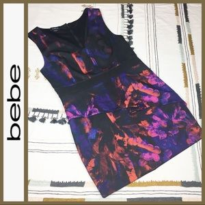 [ bebe ] Floral Art Career Peplum Stretchy Dress L